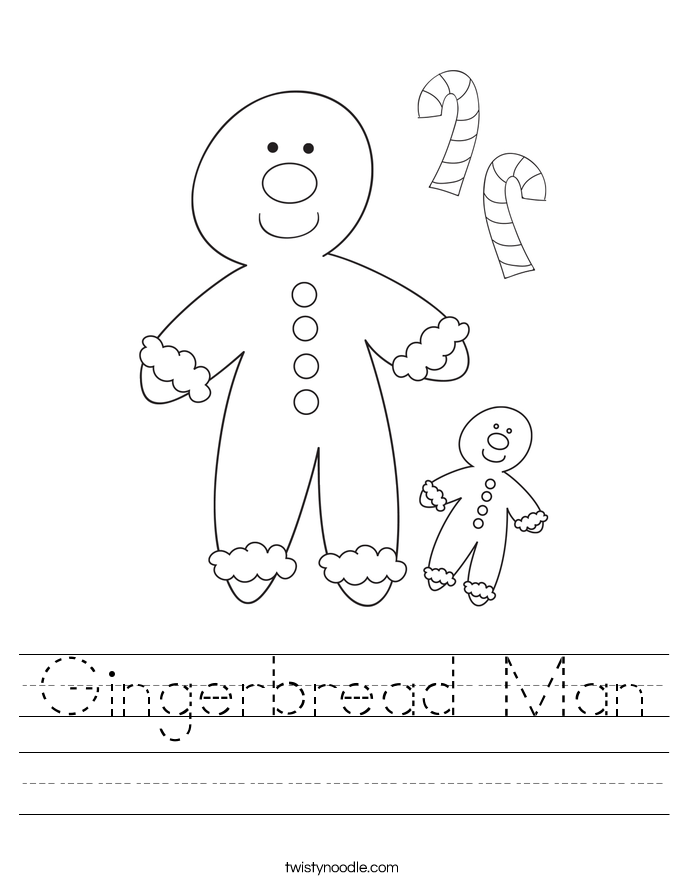 Gingerbread Man Worksheet Twisty Noodle