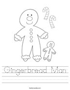 Gingerbread Man Handwriting Sheet