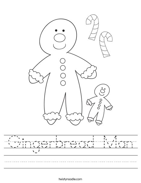 Gingerbread Man Worksheet - Twisty Noodle