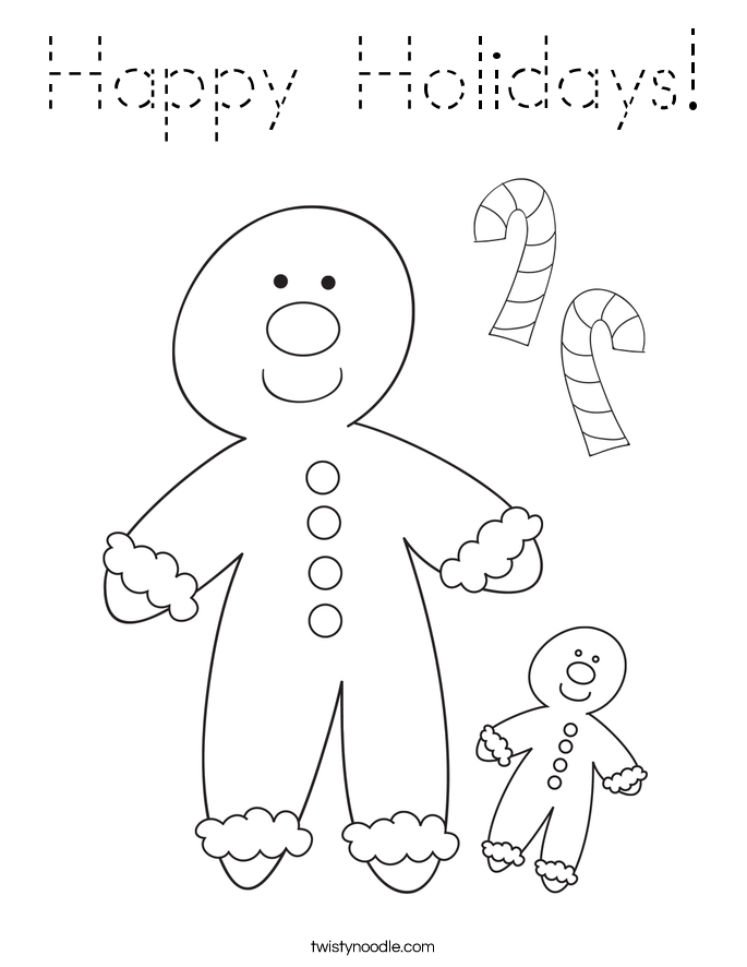 Happy Holidays Coloring Page - Tracing - Twisty Noodle
