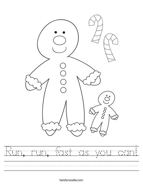 Gingerbread Man Worksheet
