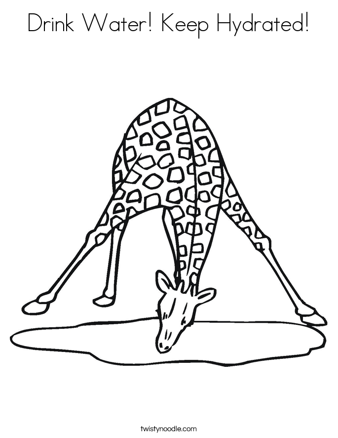 Drink Water! Keep Hydrated! Coloring Page