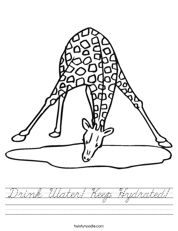 Drink Water! Keep Hydrated! Worksheet