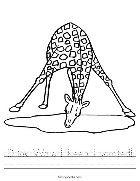 Giraffe Drinking Water Worksheet
