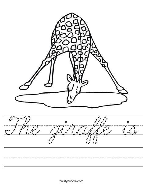 Giraffe Drinking Water Worksheet