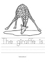The giraffe is Handwriting Sheet