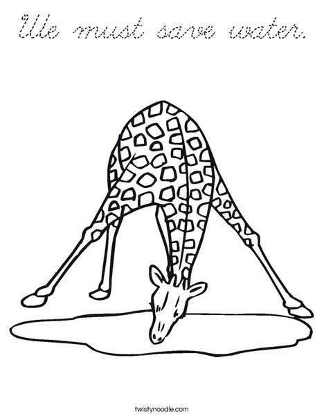 Giraffe Drinking Water Coloring Page
