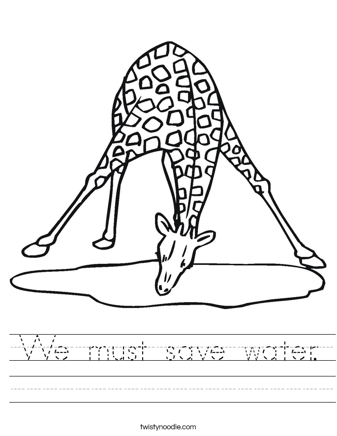 We must save water. Worksheet