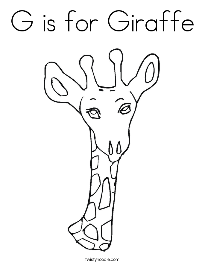 G is for Giraffe Coloring Page