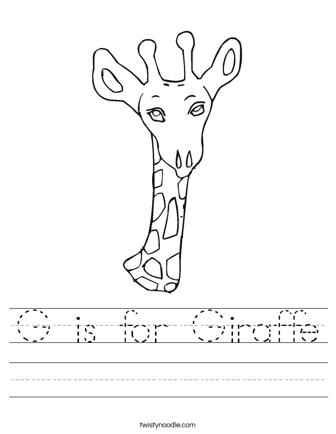 G is for Giraffe Worksheet