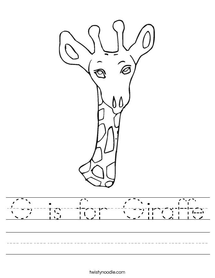 G Is For Giraffe Worksheet