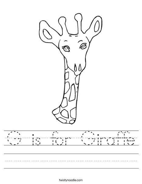 Giraffe Head Worksheet