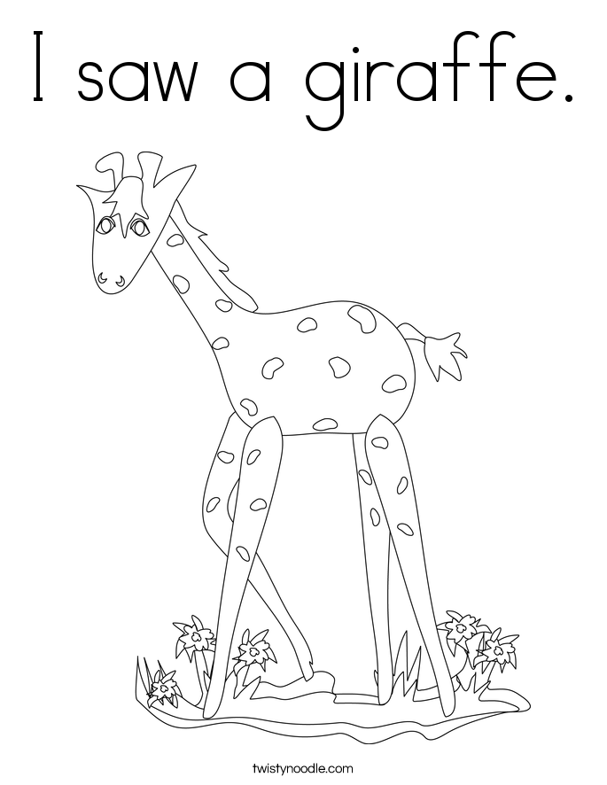 I saw a giraffe. Coloring Page