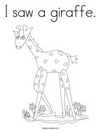 I saw a giraffe Coloring Page