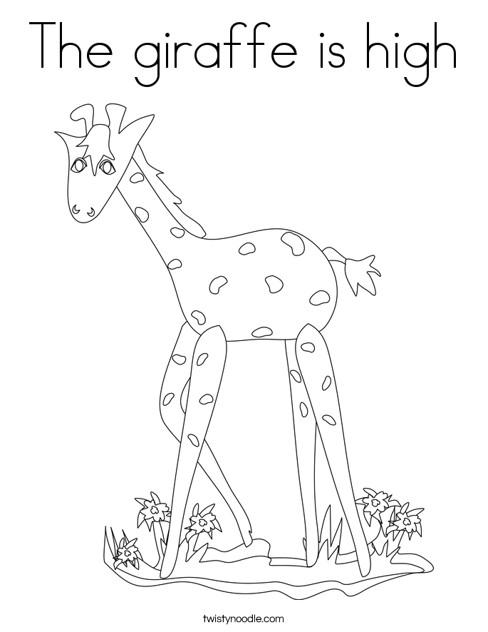 The giraffe is high Coloring Page