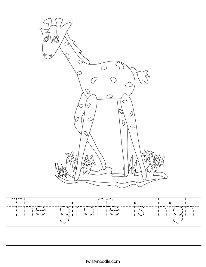 The giraffe is high Worksheet