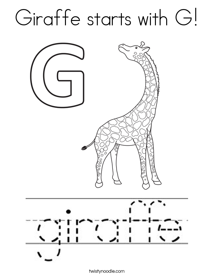 Giraffe starts with G! Coloring Page