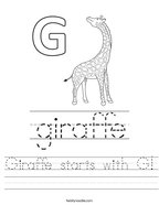 Giraffe starts with G Handwriting Sheet