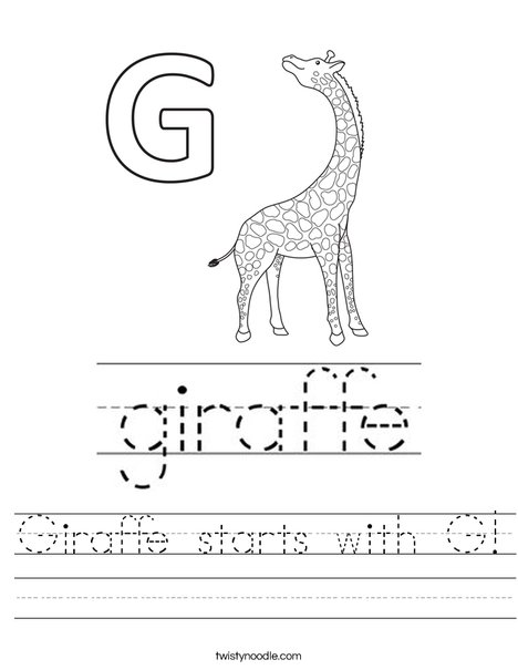 Giraffe starts with G! Worksheet