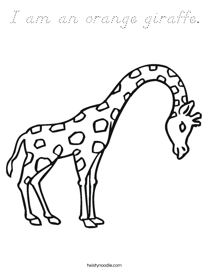 I am an orange giraffe. Coloring Page