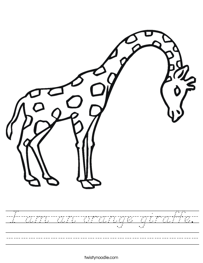 I am an orange giraffe. Worksheet