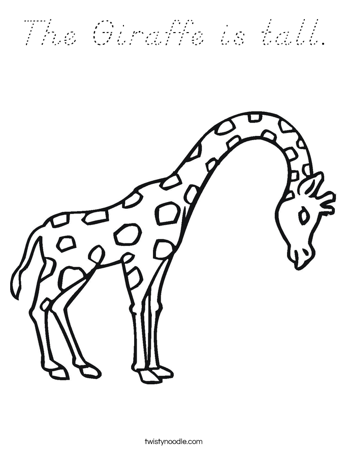 The Giraffe is tall. Coloring Page