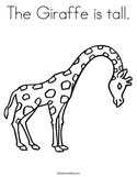 The Giraffe is tall Coloring Page