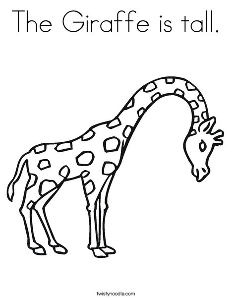 Giraffe with Bent Neck Coloring Page
