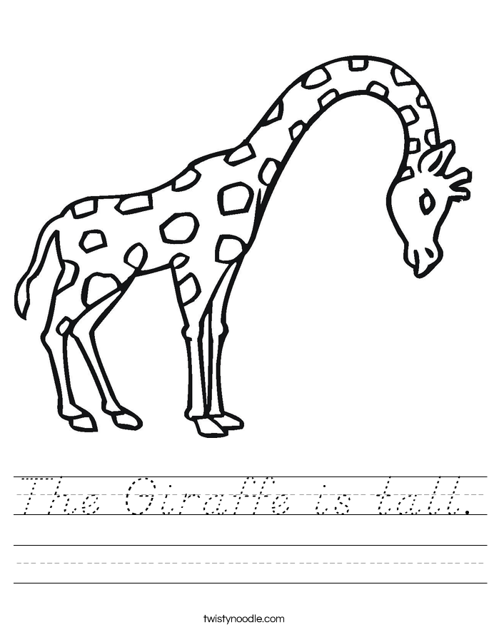The Giraffe is tall. Worksheet