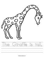 The Giraffe is tall Handwriting Sheet