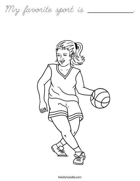 Girl Basketball Player Coloring Page