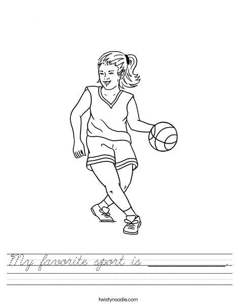 Girl Basketball Player Worksheet