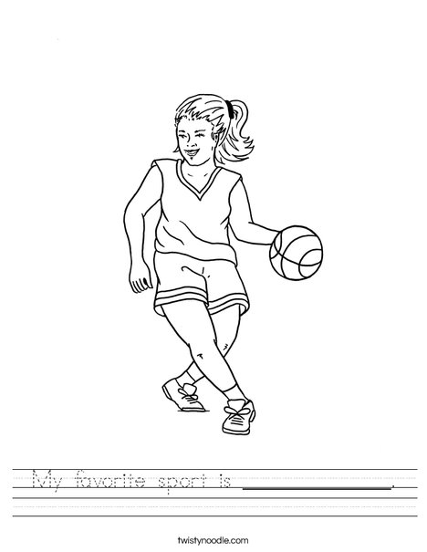 Girl Basketball Player Worksheet