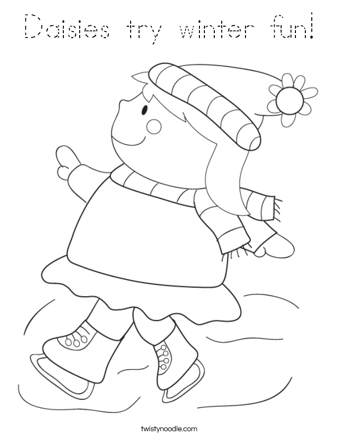 Daisies try winter fun! Coloring Page