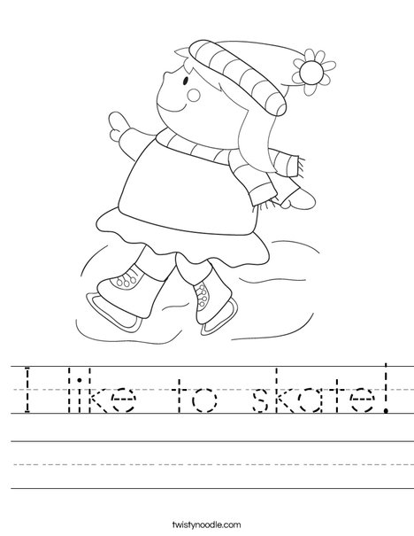 Girl Ice Skating Worksheet