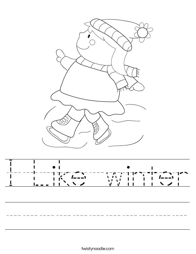 I Like winter Worksheet - Twisty Noodle