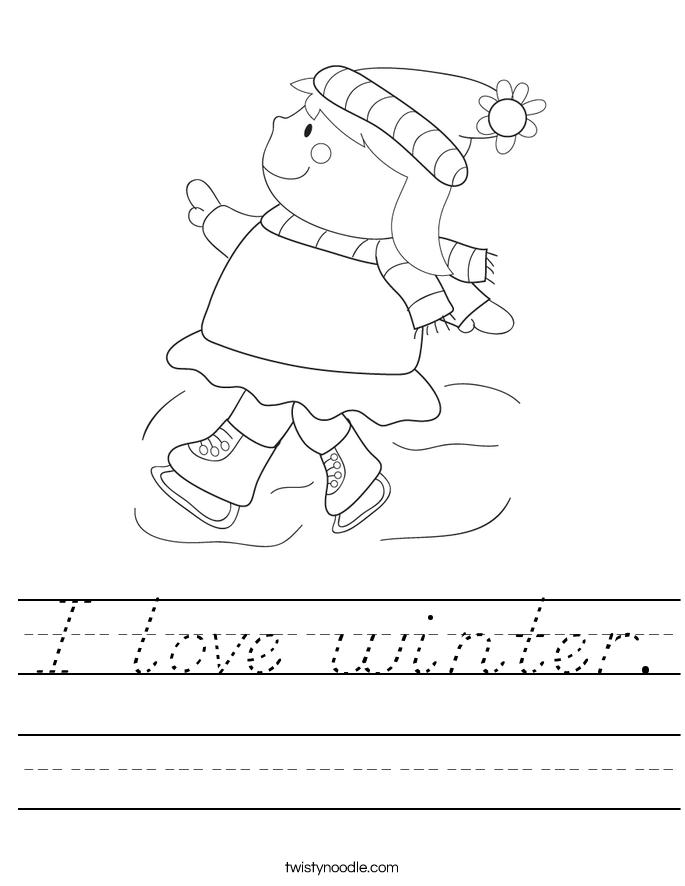 I love winter. Worksheet
