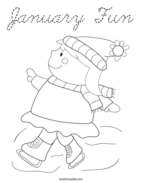 Girl Ice Skating Coloring Page