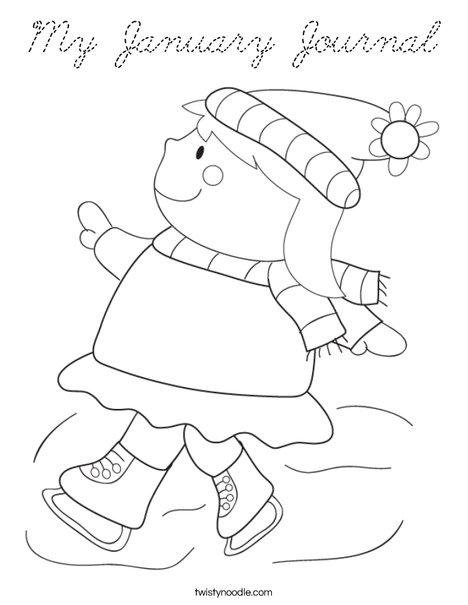 Girl Ice Skating Coloring Page