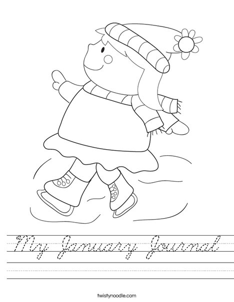 Girl Ice Skating Worksheet