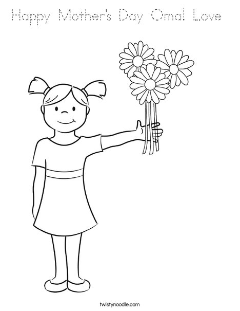 Happy Mother's Day Oma Love Coloring Page - Tracing ...