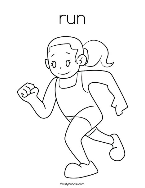 Girl Running Coloring Page