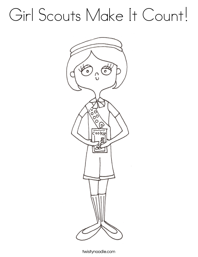Girl Scouts Make It Count! Coloring Page