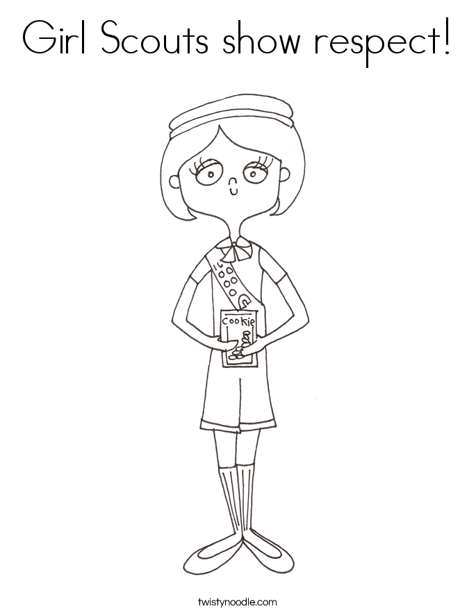 Girl Scouts show respect! Coloring Page