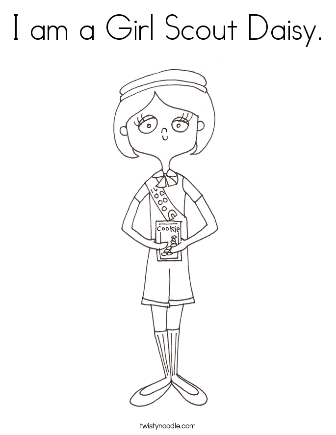 I am a Girl Scout Daisy. Coloring Page