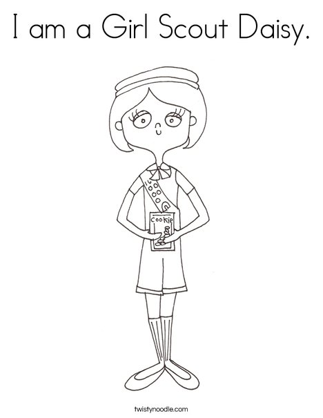 I am a Girl Scout Daisy Coloring Page - Twisty Noodle
