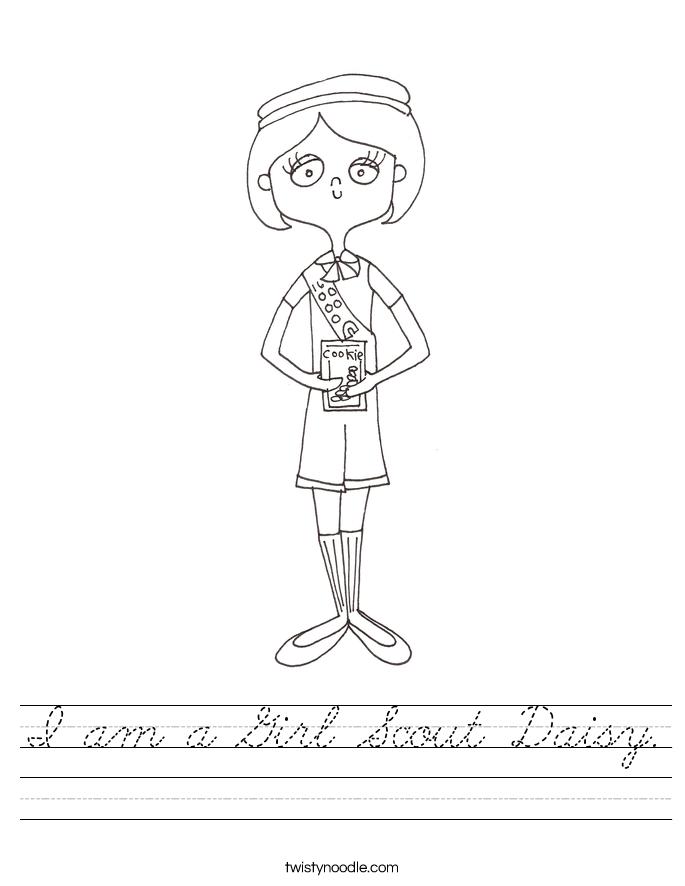 I am a Girl Scout Daisy Worksheet - Cursive - Twisty Noodle