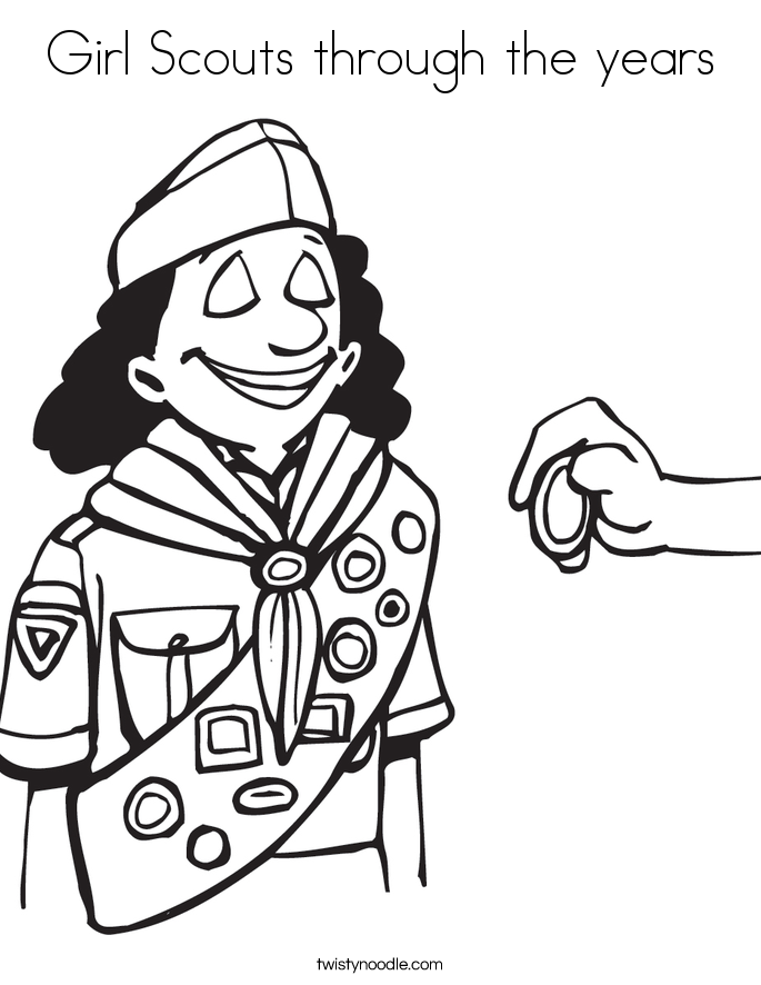 Girl Scouts through the years Coloring Page