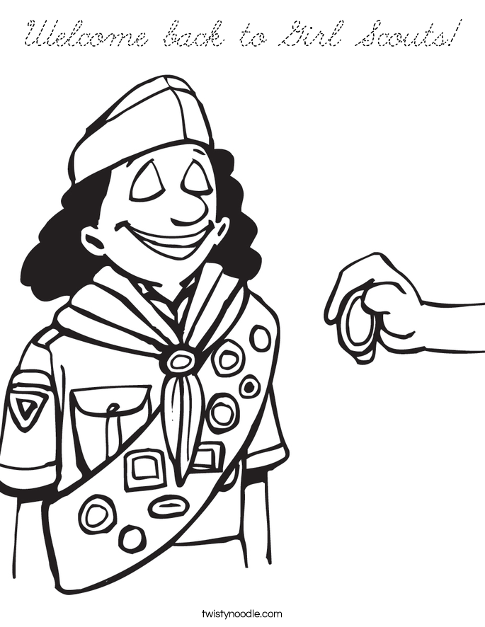Welcome back to girl scouts coloring page cursive for Welcome back coloring pages