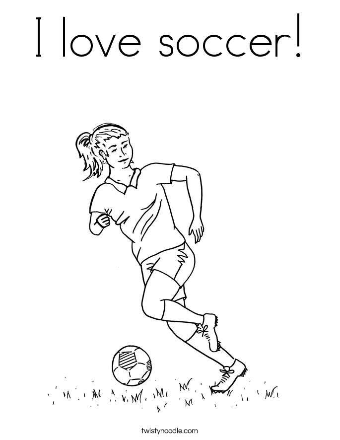 i love soccer coloring page